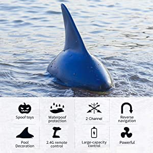 Lepeuxi V302 RC Boat with Simulation Shark Fin Head 15km/h Electric Racing Boat for Pools 2.4G Remote Control Spoof Toy