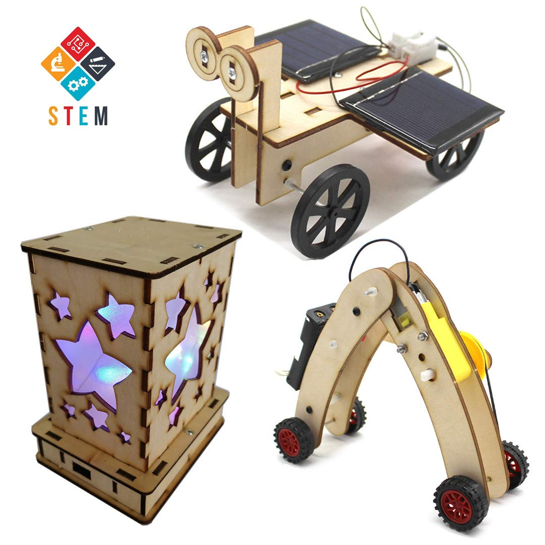 DIY Science Kits for Kids, 3 STEM Educational Building Projects Craft Kit, Solar Circuits Car and Fairy Nightlight Lantern and Machine Caterpillar by DEUXPER