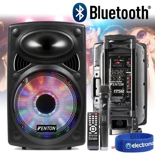 Fenton Active Powered Bluetooth Speaker System 12' with Lights Wireless Mic