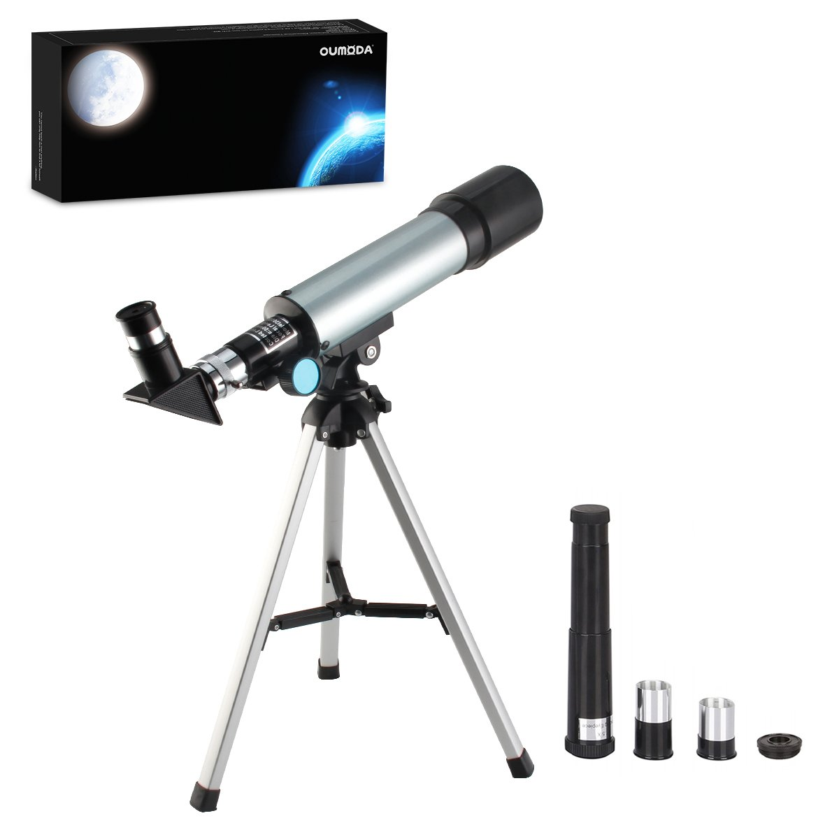 Oumoda Telescope, Travel Scope, 90 X Refractor Telescope, Astronomy Telescope Tabletop Nature Exploration Gifts Toys for Kids, Adults Sky Star Gazing, Birds Watching by Oumoda