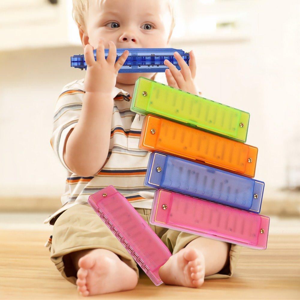 半透明Harmonica 4pcs Kids Clearly Colorful半透明プラスチックHarmonicaスターターInstruments for Kid 'sパーティー休日、おもちゃ、ギフト、賞with標準10穴( 4pcs ) B077BJYFZX