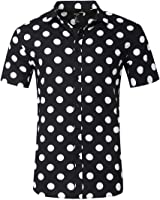 NUTEXROL Men's Premium Polka Dot Print Casual Shirt Short Sleeve Cotton Shirts
