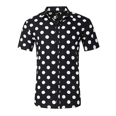 Amazon.com: NUTEXROL Men's Premium Polka Dot Print Casual Shirt ...