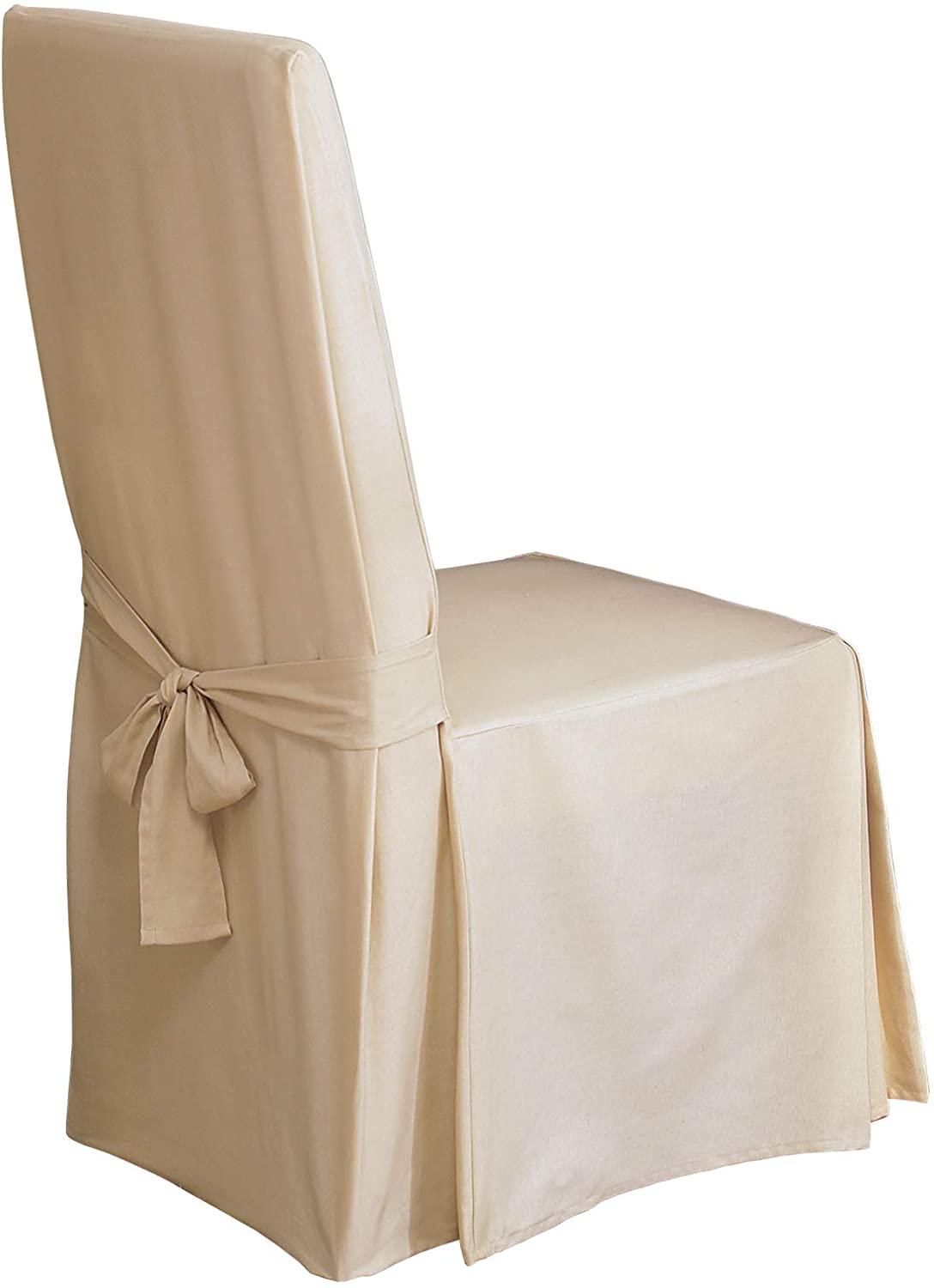 SureFit Long Dining Chair Slipcover - Cotton Duck - Up To 42 Inches Tall - Machine Washable - 100% Cotton - Natural: Furniture & Decor