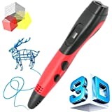 Manve 3D Printing Pen for 3D Modeling Doodling - Prototyping Design and Art Making DIY Kids Adults, Compatible PLA ABS Filament, Bright LED Display (3D Pen - Red)