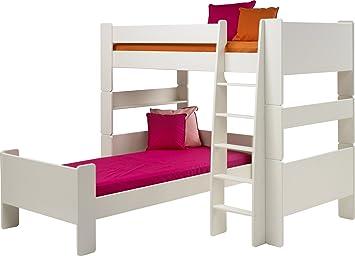 Hochbett L Form : Steens für kinder weiß glänzend l form hochbett mit einzelbett und