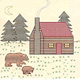 Jack Dempsey 731 316 Cross-Stitch Stamped Ecru Quilt Blocks 18-Inch X 18-Inch 6/Package-Cabin and Bears