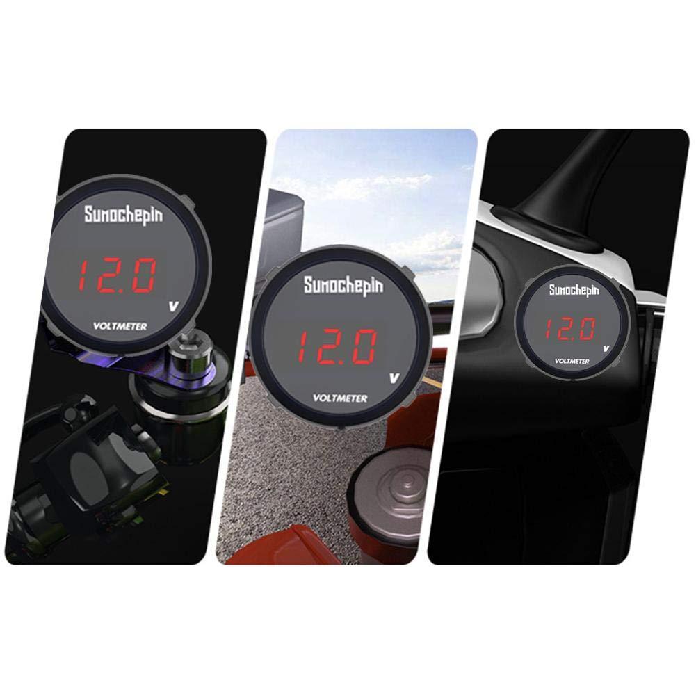Ksruee DC 9V 120V LED Volt Voltage Meter,Round Waterproof Auto Boat Car Motorcycle Mini Digital Voltmeter,Tester Monitor Display-Black
