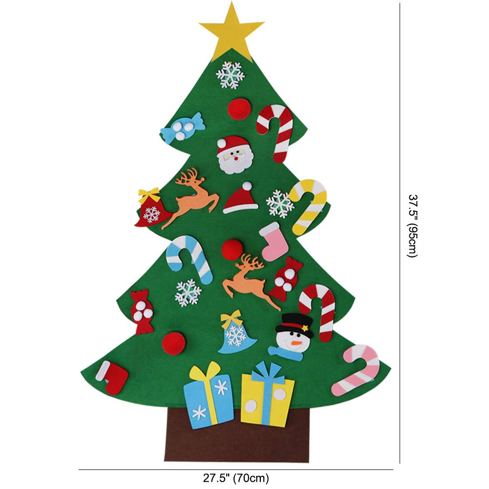 Christmas Tree.Aerwo 3ft Diy Felt Christmas Tree Set With 26 Detachable Ornaments New Year Xmas Gifts For Kids Door Wall Hanging Decor