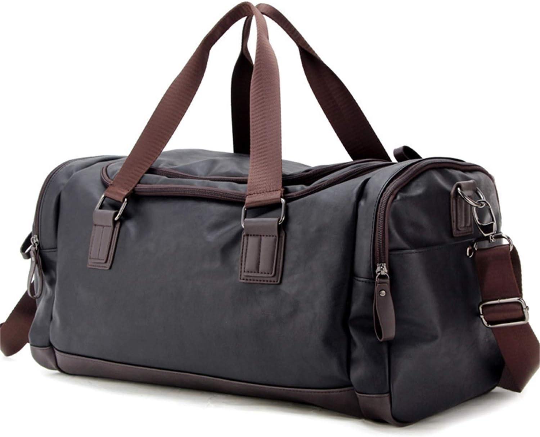 Top PU Travel Duffels Bags Weekender Tote Luggage Bags for Men, Traveling, Gym, Fitness Black