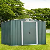 Peach Tree Outdoor Steel Garden Storage Utility Tool Shed Backyard Lawn Green w/Door (8'X6')