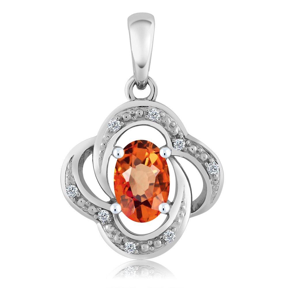 0.55 Ct Oval Orange Sapphire Diamond 10K White Gold Pendant With Chain