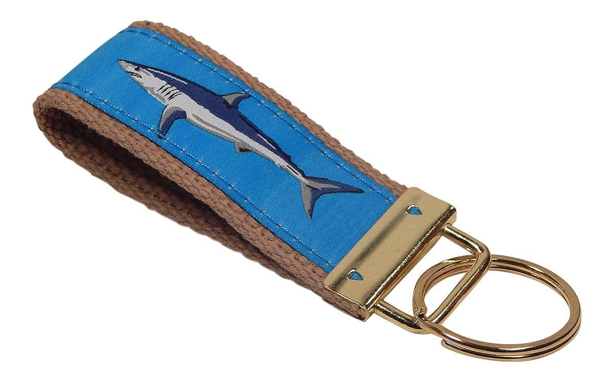 Khaki Webbing Preston Light Blue Mako Shark Classic Ribbon Key Ring