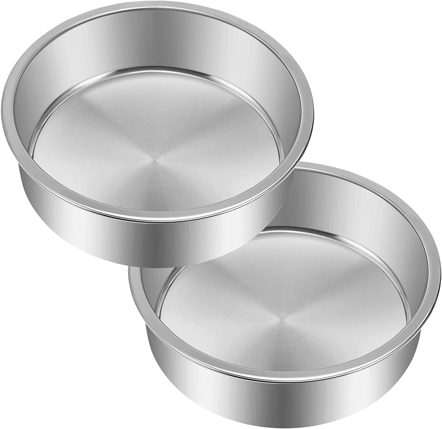 8 Inch Cake Pan Set of 2, Yododo Stainless Steel Round Cake Pans Tier Baking Pans, Fit in Pot Pressure Cooker Air Fryer, One-piece Molding, Heavy Duty, Mirror Finish & Dishwasher Safe