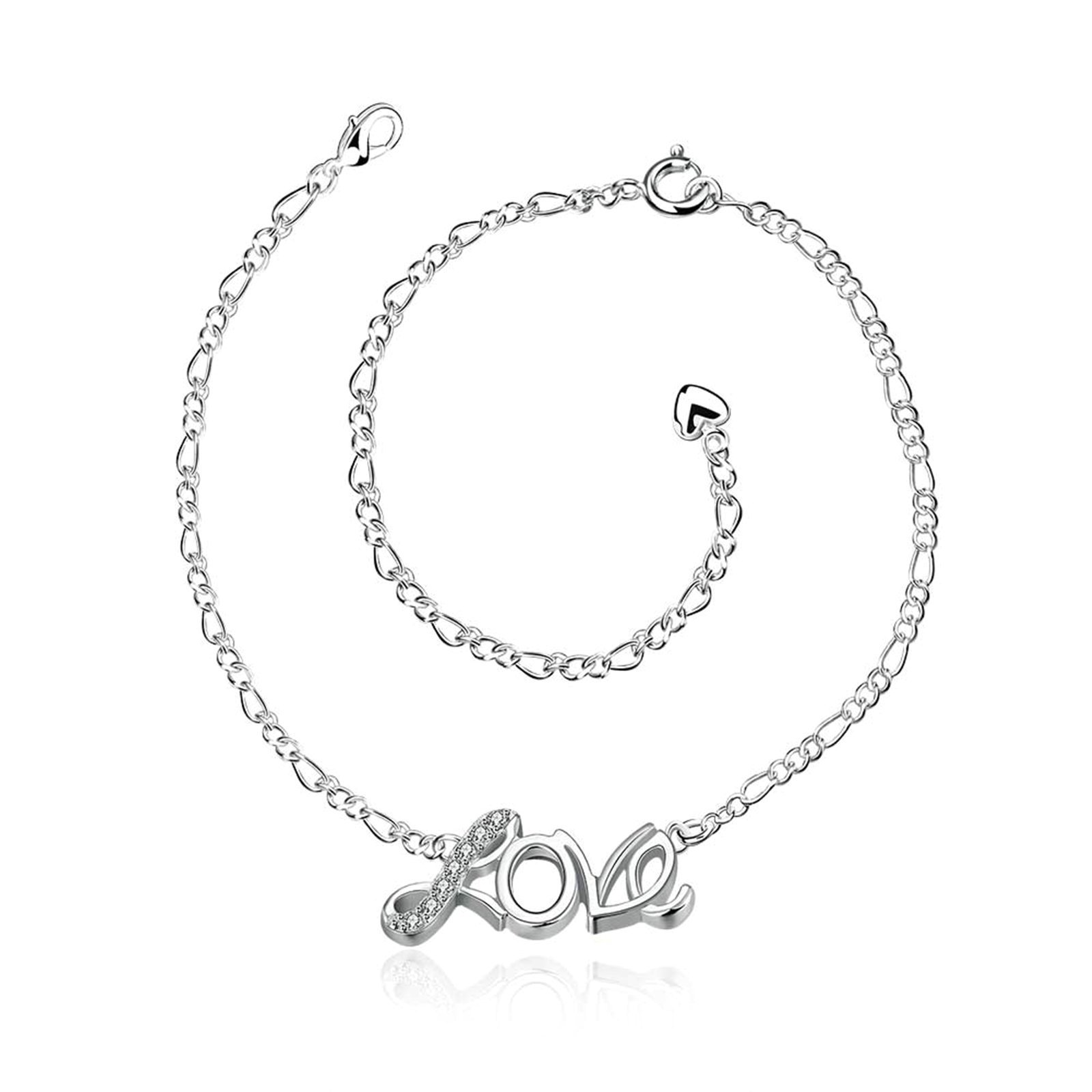 Adisaer Silver Plated Anklet Bracelet 20+10CM Chain Love Cubic Zirconia Silver Womens Beach Foot Jewelry