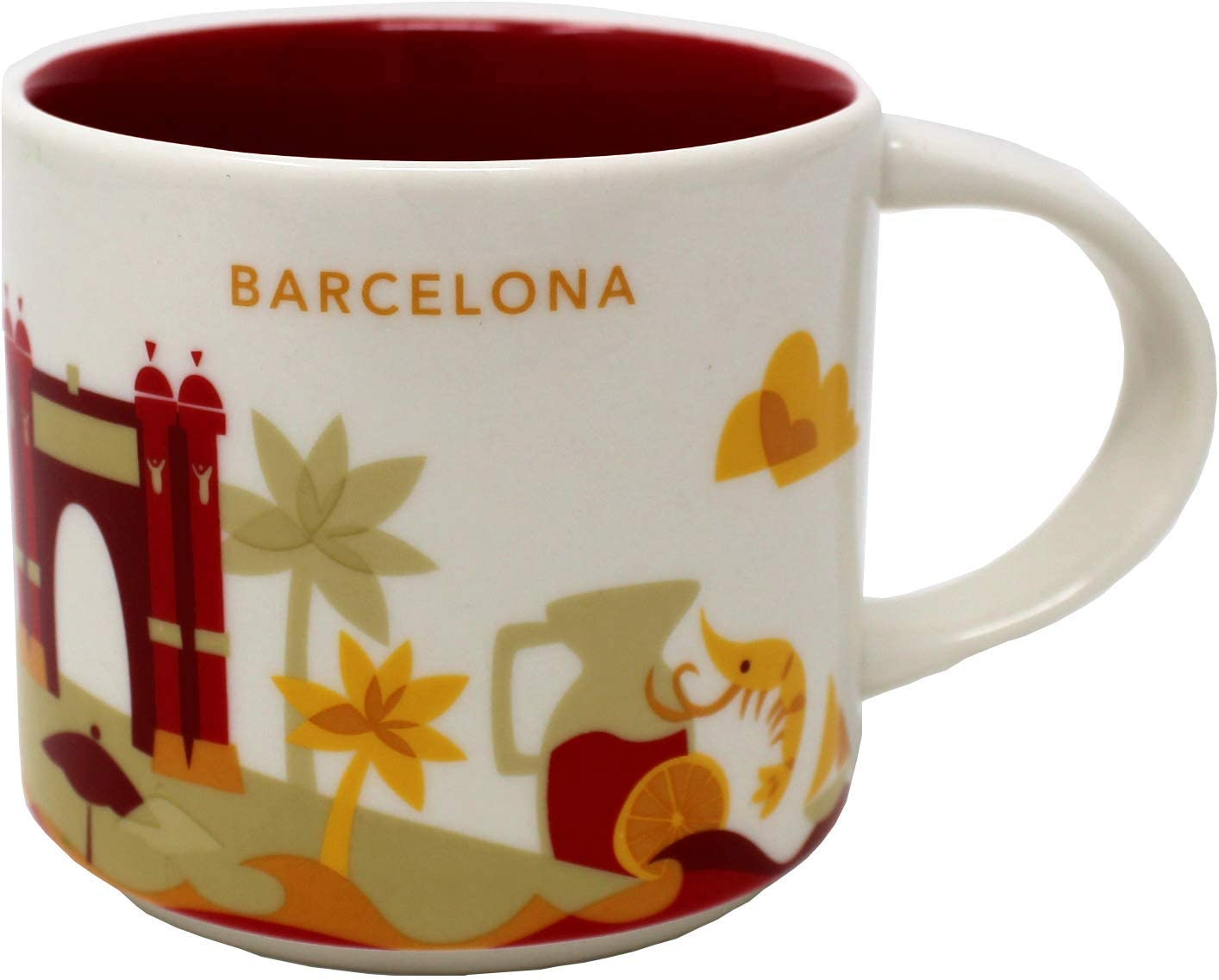 Starbucks Taza De Barcelona Yah - Usted Está Aquí - Taza De Café - Espana - Gambas - Camarones - Las Ramblas - Sangría 14 Oz Blanco: Amazon.es: Hogar