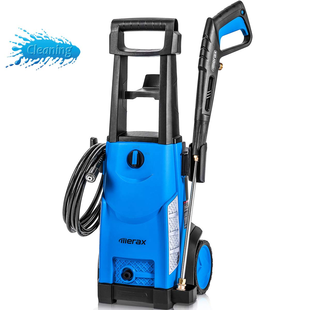 Merax 1800PSI 1.3GPM Electric Pressure Washer, Compact Power Washer with Metal Spray Wand, 20-Foot Hose and Removable Detergent Tank Royal Blue