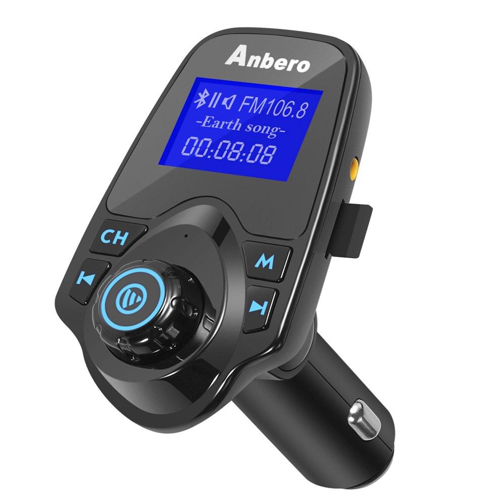 Anbero Transmisor de Radio FM Adaptador Bluetooth para el Coche Lectura de Tarjeta Micro SD y l/ápices USB Color Negro Kit de Manos Libres para el Coche con Conector de Audio de 3,5/mm