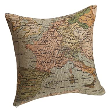 Decorbox Decorative 18 x 18 Inch Linen Cloth Pillow Cover Cushion Case, Map of the Mediterranean