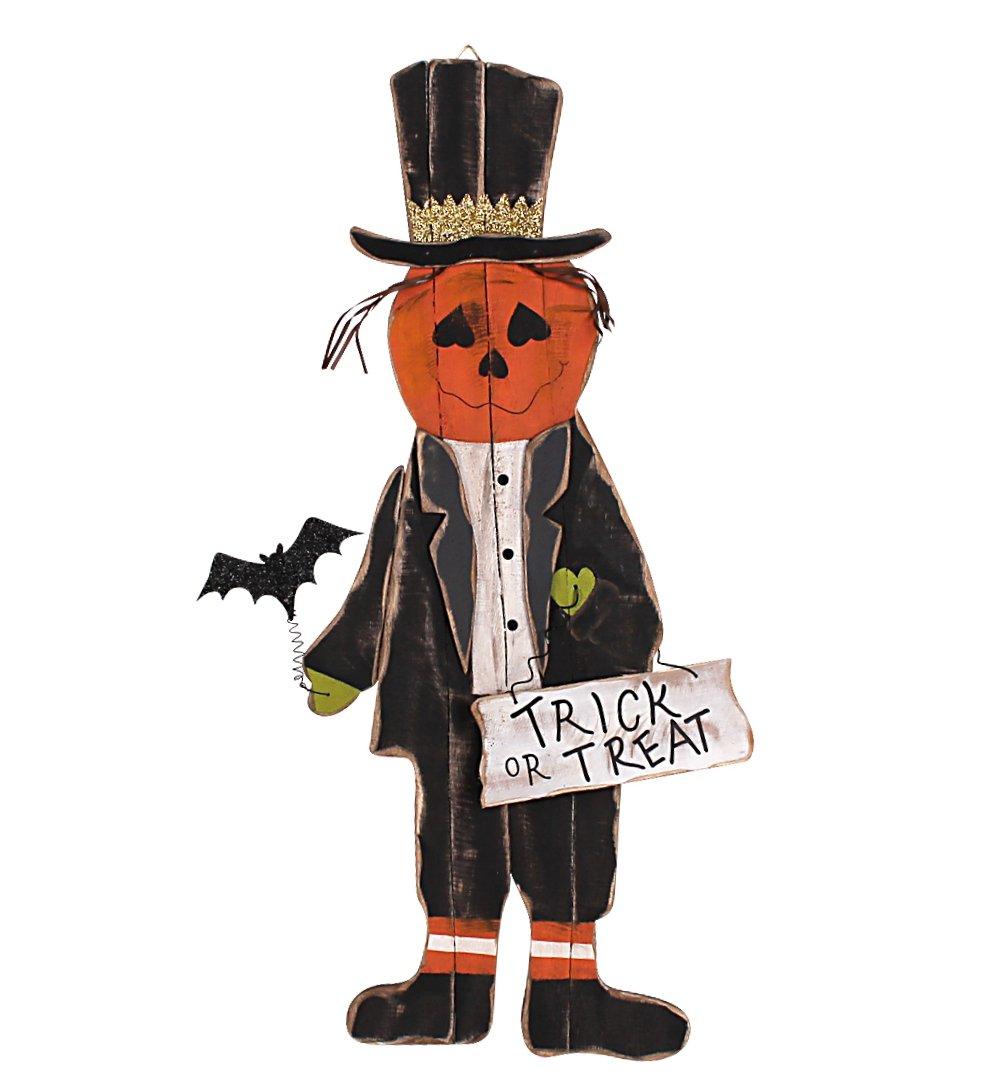YK Decor Wood Halloween Tall Pumpkinhead Scarecrow