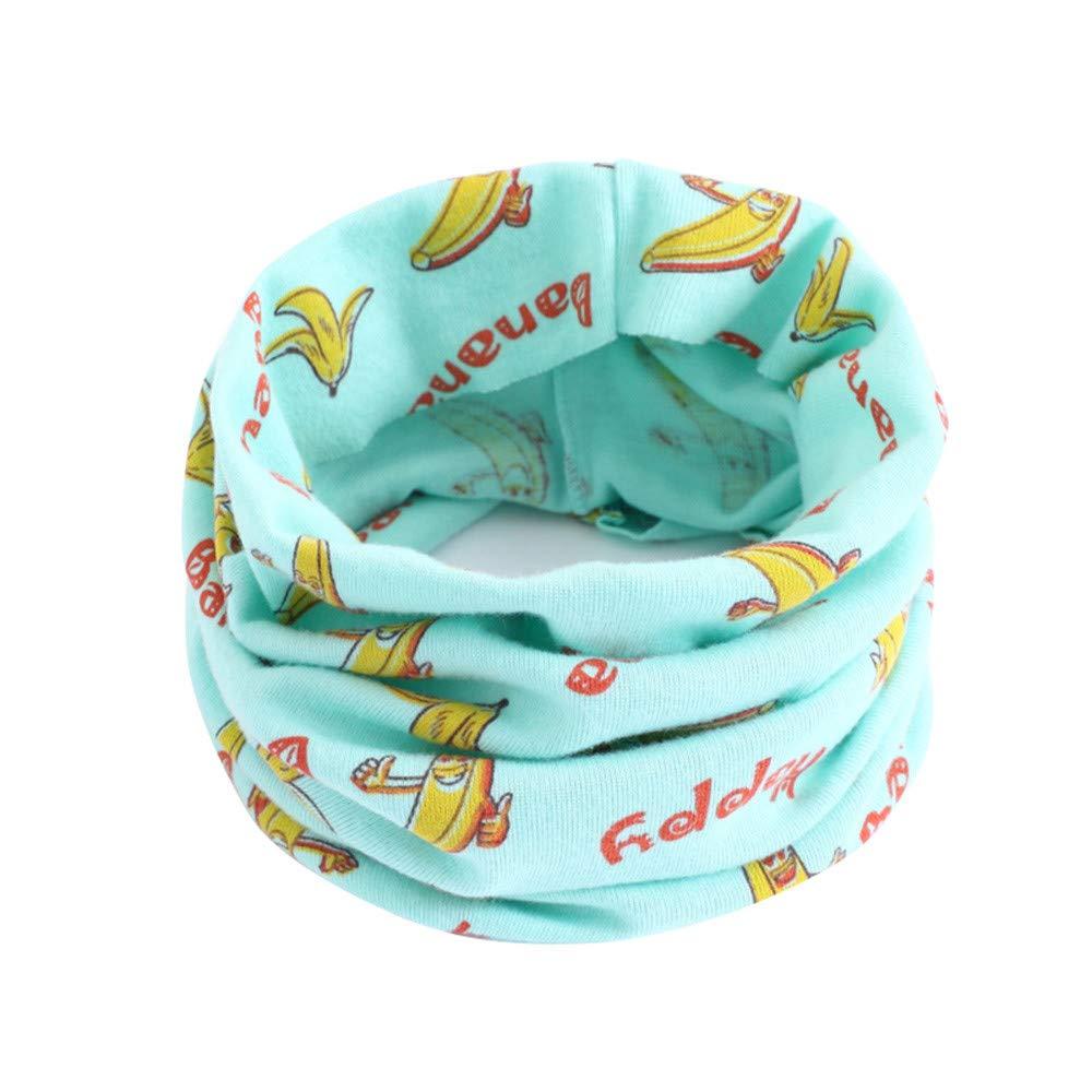 Infant Baby Skin-Friendly Cotton Neckerchief Cartoon Print Tube Snood Infinity Loop Scarves Kids Girls Boys Collar Neck Scarfs O-ring Collar Neck Circle Scarves Shawl