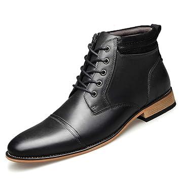Shoe house Cuero Genuino de los Hombres Oxfords Vestido Botines con Cremallera: Amazon.es: Deportes y aire libre