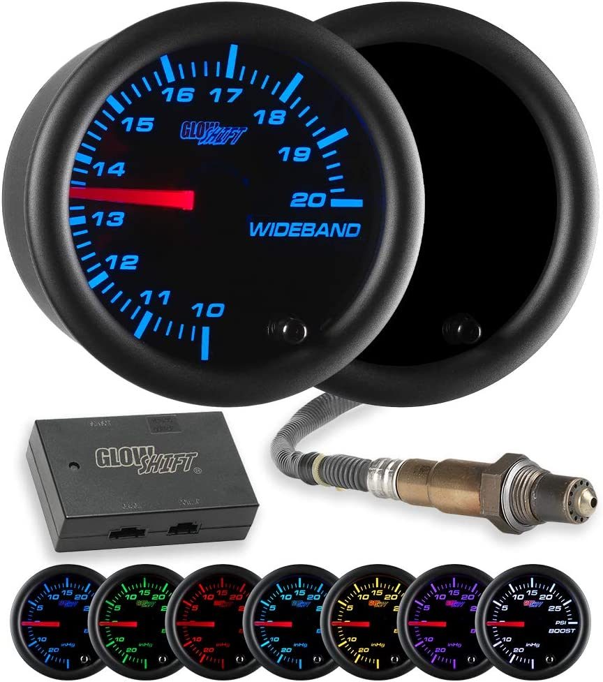 Black Dial GlowShift Tinted 7 Color Needle Wideband Air//Fuel Ratio AFR Gauge 2-1//16 52mm Smoked Lens Includes Oxygen Sensor Data Logging Output /& Weld-in Bung