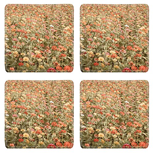 Price comparison product image Luxlady Square Coaster flower meadow vintage IMAGE 36485466 Customized Art Home Kitchen