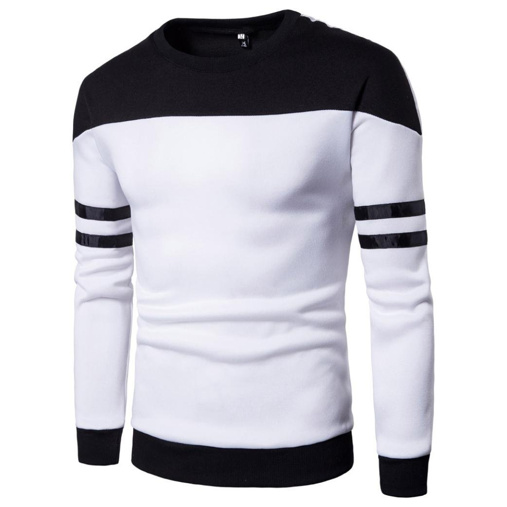 Men Sweatshirt,Men's Tops Long Sleeve Patchwork Stripe Sport Slim Pullover Shirt Jumper Blouse (Asian:M, White) by WM & MW