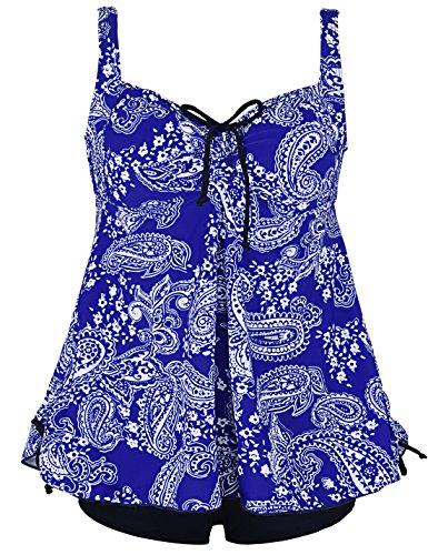 Septangle Women's Plus Size Bathing Suits Paisley Print Two Piece Swimsuit (Blue&White Floral, US 10)