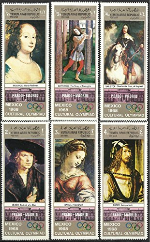 - Yemen Postage Stamps - 1968 MNH 6v. Complete Set Cultural Olympiad Mexico / Prado-Madrid Museum Art Paintings
