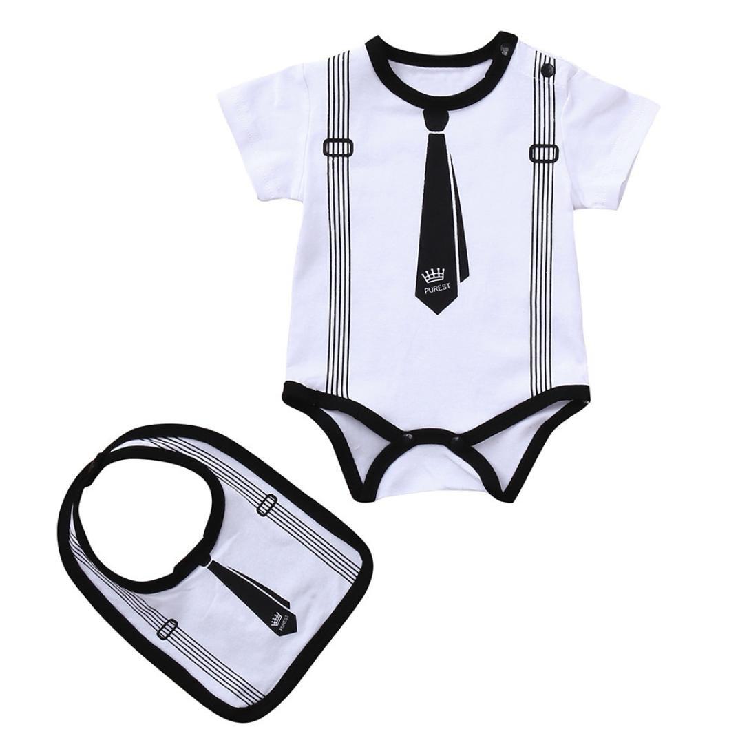 Pollyhb Baby Boys Romper 0-18 Months Bibs Outfit 2PCS Baby Boy Infant Boy Carton Sling Necktie Printing Romper