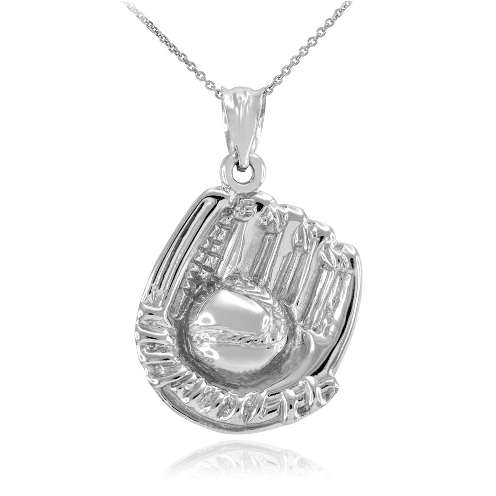 Solid 10k White Gold Softball Glove and Ball Pendant Necklace