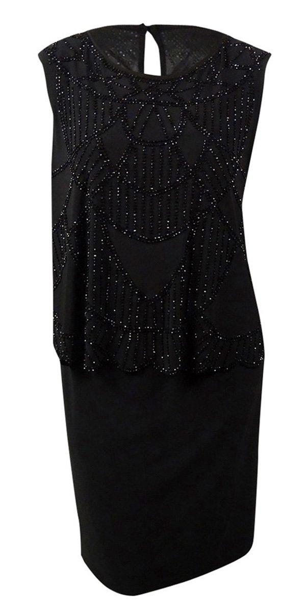 Xscape Women's Beaded Scalloped Jersey Popover Dress (18W, Black)