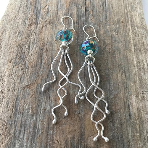 Handmade Silver Lampwork Earrings - Jellyfish Lampwork Bead Earrings