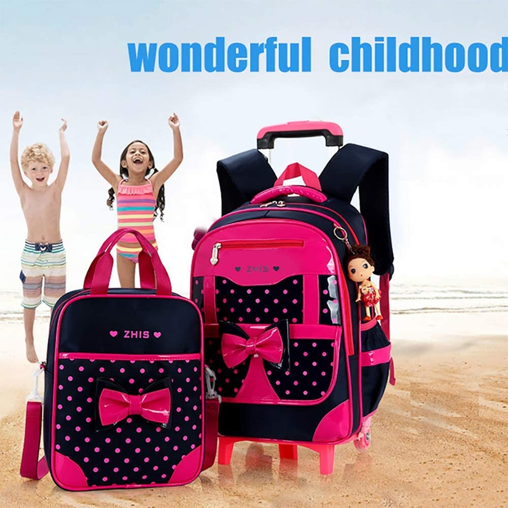 QCC/& 2Pcs Rolling Backpack Cute Girls Waterproof Removable Trolley Backpack for School Travel with Lunch Bag 6-12 Year Old,B