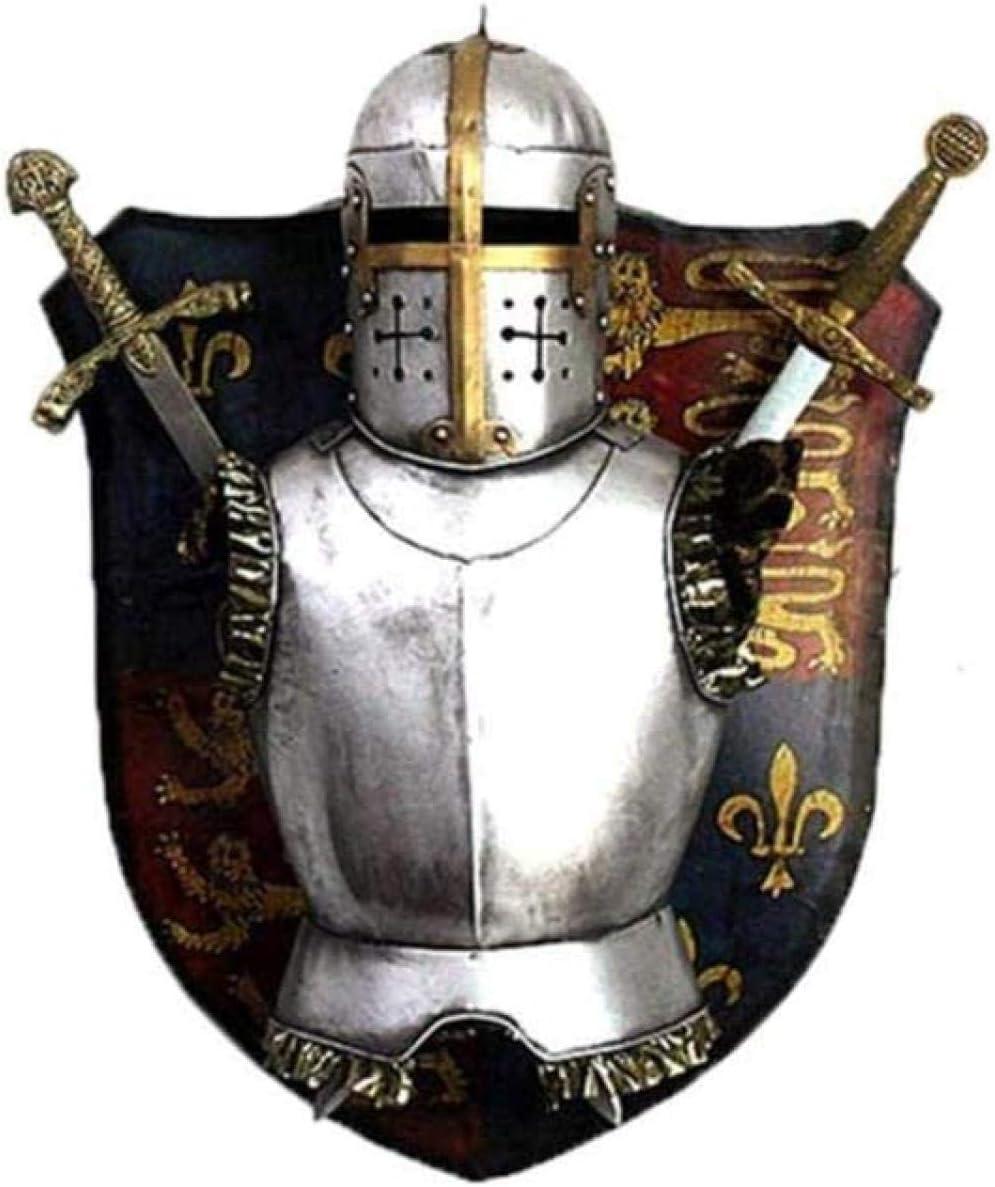 DQQQ Escultura Estatua Medieval Escultura Decoración Caballero Armadura Escultura Decoración Espada y Escudo Hierro Forjado Decoración de la Pared
