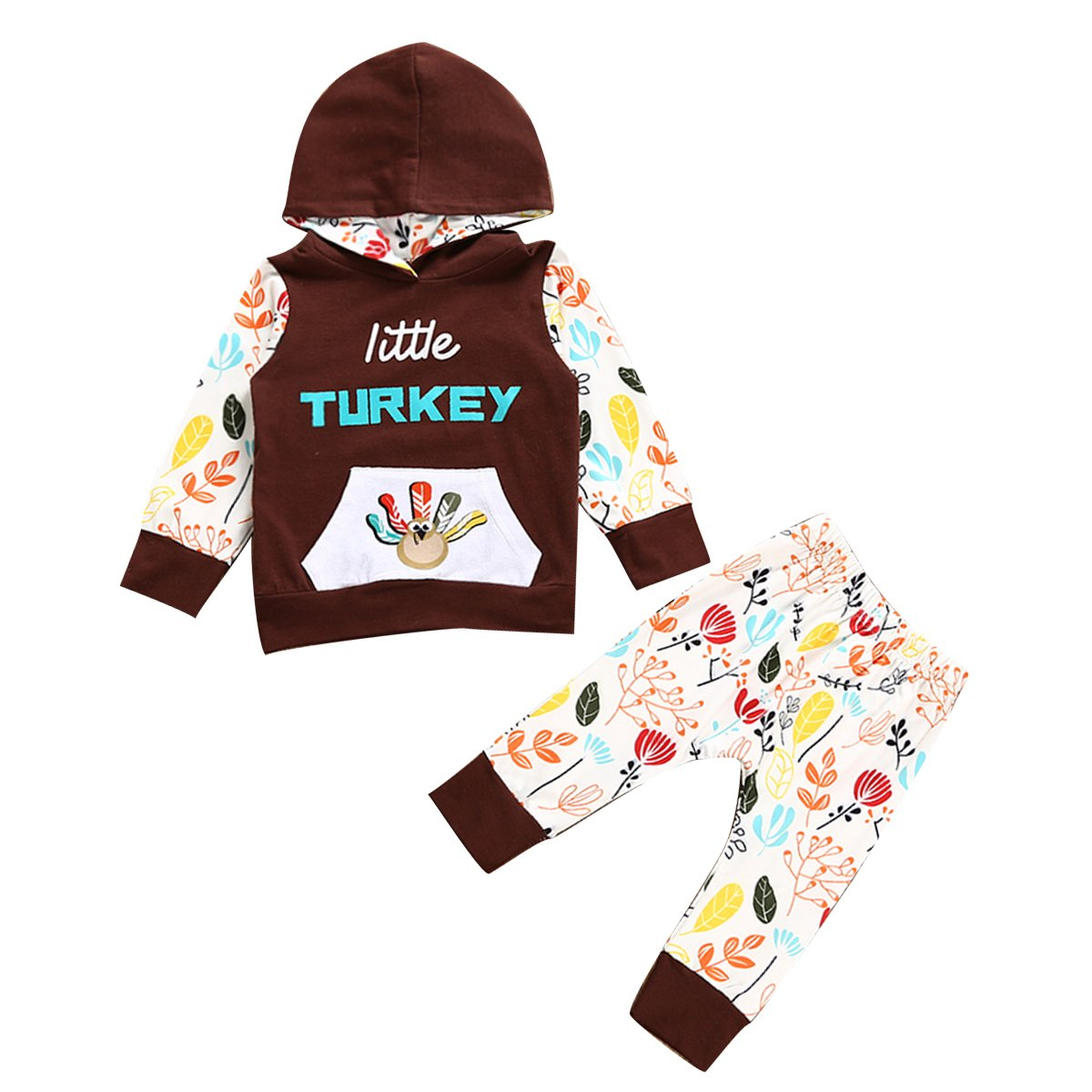 Infant Toddler Boy Girl Little Turkey Hooded Shirt & Pants Thanksgiving Outfits