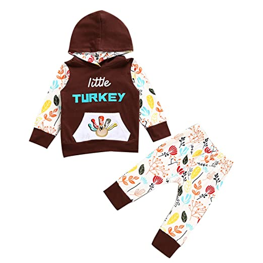 e33906071 Infant Toddler Boy Girl Little Turkey Hooded Shirt & Pants Thanksgiving  Outfits (0-6M
