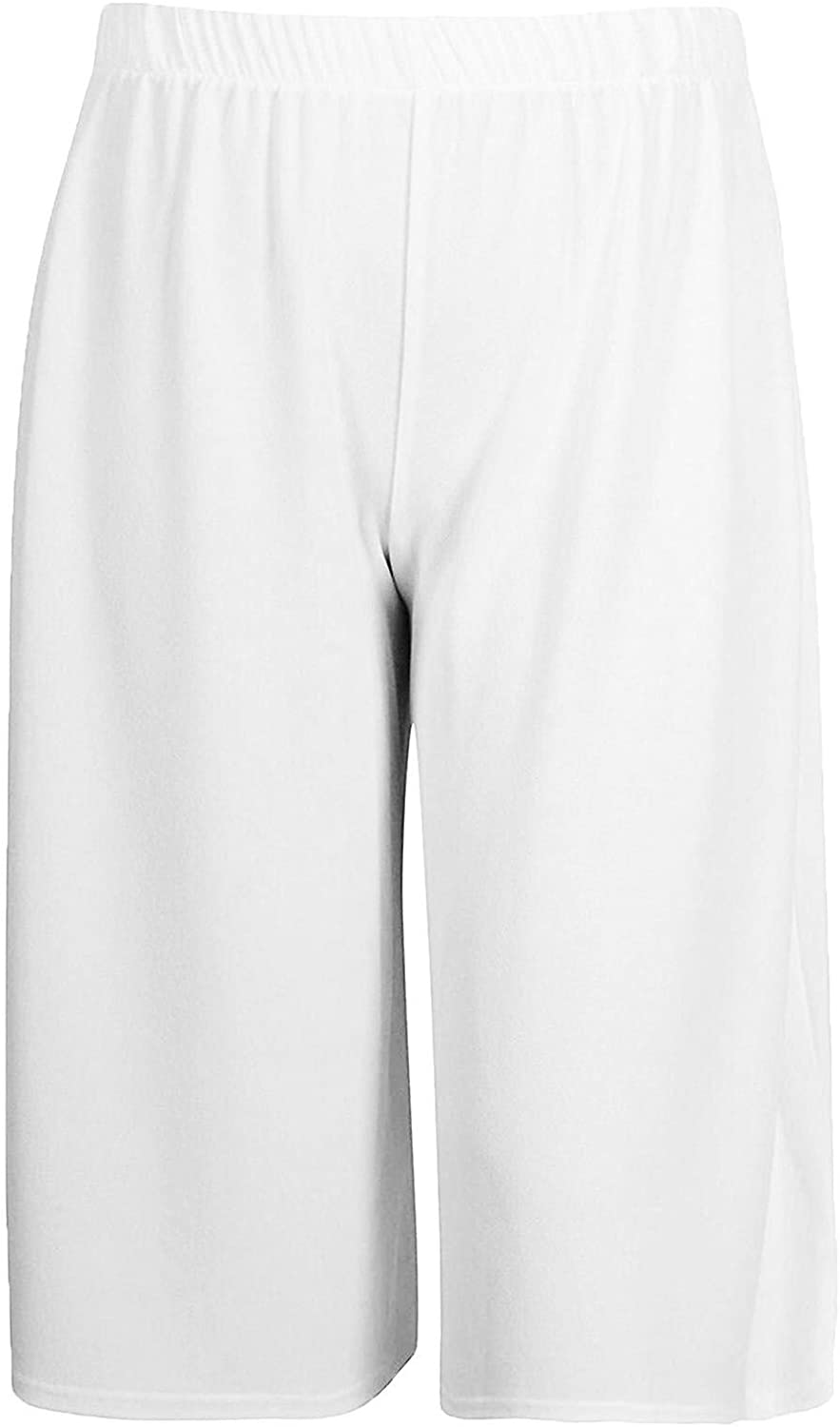xpaccessories Ladies 3//4 Cropped Knee Length Trouser Italian Pants Womens Plain High Waisted Culotte Bottom Plus Size 8-26