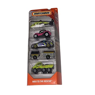 Matchbox 2020 Rescue 5 Pk (Sea Hunter, Baja Bandit, Subaru Impreza, Pierce Dash Fire, Trail Tracker): Toys & Games