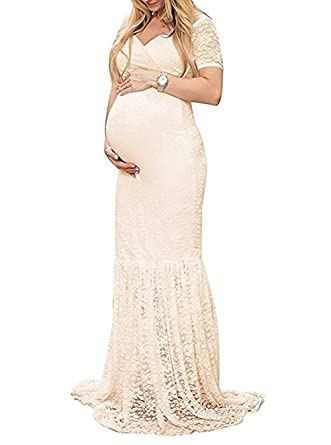 ad4e21898231e ZIUMUDY Womens Off Shoulder Short Sleeve V Neck Lace Maternity Gown Maxi  Photography Dress (Small