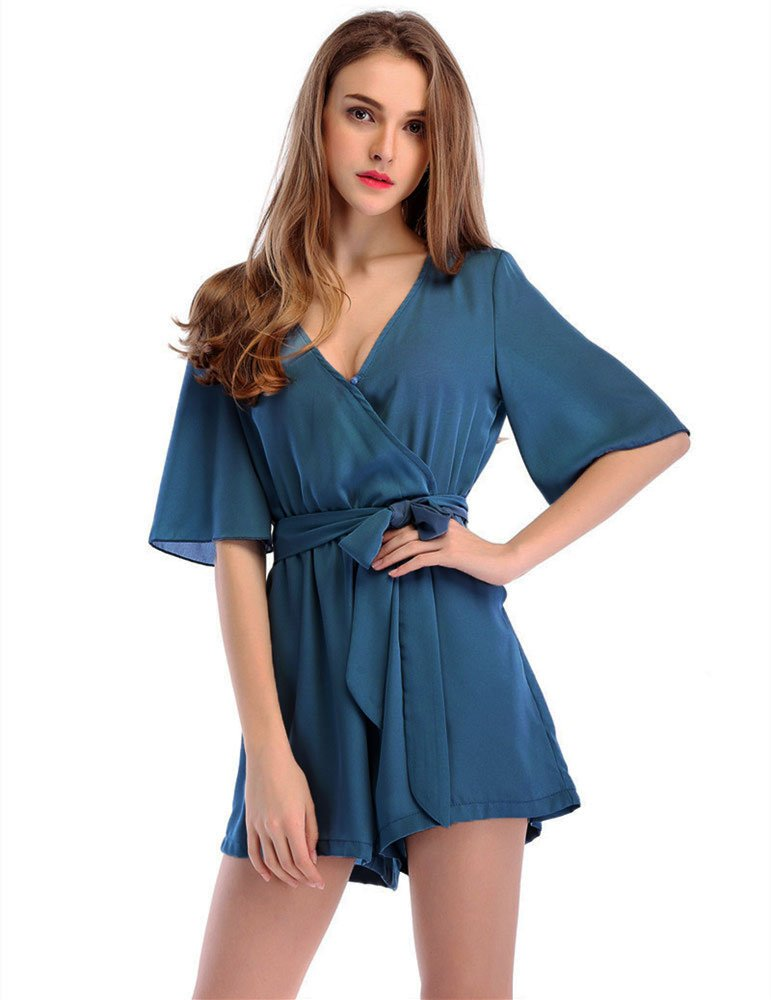 Moxeay Womens Teens Chiffon Short Sleeve Wrap Front V Neck Rompers Jumpsuit
