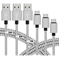 USB C Kabel auf USB 3.0 A Schnellladekabel [3 Stück, 1m 2m 3m], Vegena USB Type C Ladekabel Nylon Datenkabel für Samsung Galaxy S9 S8 Plus Tab S3 A5 A3 2017 Note 9 8 Huawei P20 P10 Lite Sony Xperia XZ