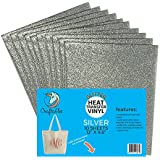 "(10) 12"" x 9.8"" Sheets Craftables Silver Glitter Heat Transfer Vinyl, HTV - Sparkling Easy to Weed Tshirt Iron on Vinyl for Silhouette Cameo, Cricut, all Craft Cutters. Ships Flat, Guaranteed Size"