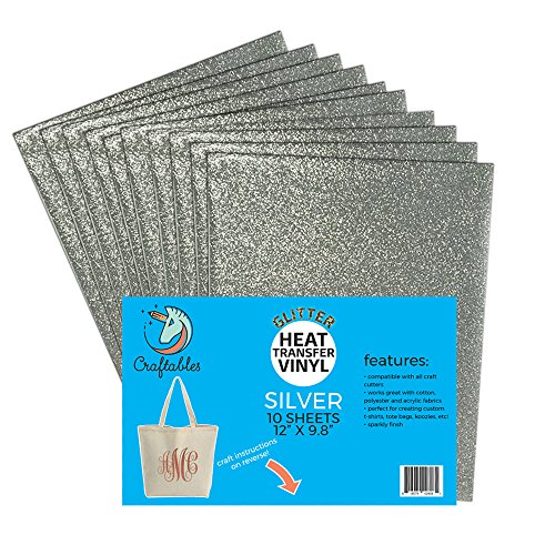 (10) 12 x 9.8 Sheets Craftables Silver Glitter Heat Transfer Vinyl, HTV - Sparkling Easy to Weed Tshirt Iron on Vinyl for Silhouette Cameo, Cricut, All Craft Cutters. Ships Flat, Guaranteed Size