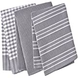 Classic Tea Towels,100% Cotton,Waffle Weave,Vintage Design,Can Be Used As Tea Towels/Dish Towels/Kitchen Towels,In Large Size 45x65cm (Grey) by ProtexDeal