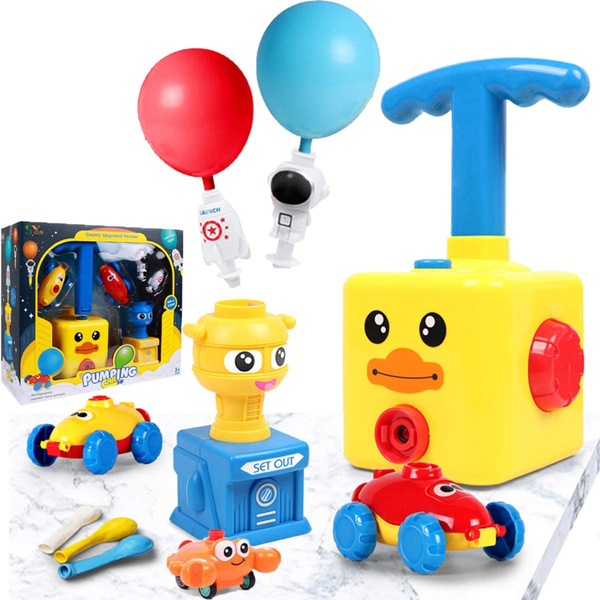 Yellow Angry Bird E-gle Balloon Powered Car with Launch Pad Toy for Kids Air Inertial Balloon Pump Cars Racer Creative Vehicle Toy for Children No Batteries Needed Best Toys Gift for Kids
