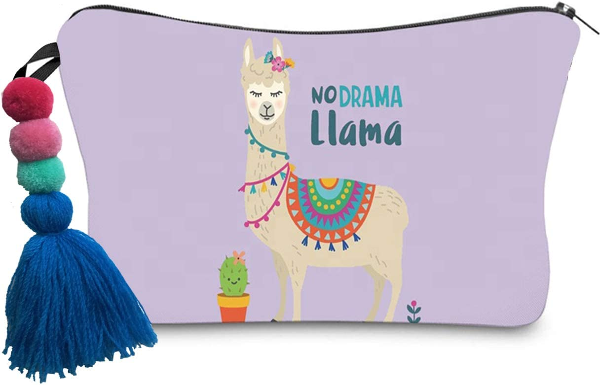 NO Drama Llama Storage Pouch Marker Pen Pencil Case Stationery Bag Holder,Makeup Travel Bag (Pink Llama)