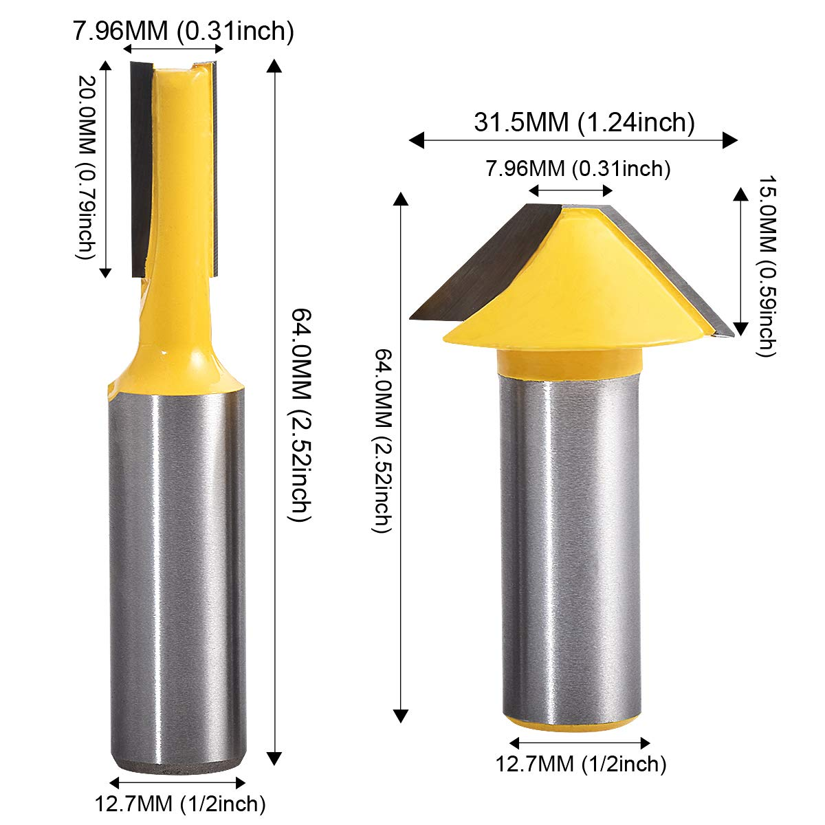 HOHXEN High Carbon Steel Cord Drill Bits Set Wood Working Plug Cutters Set 5//8,1//2,3//8,1//4 4 Pcs//Set